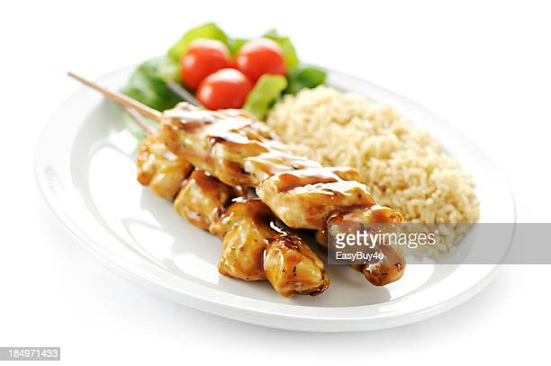 Seasoned chicken skewers