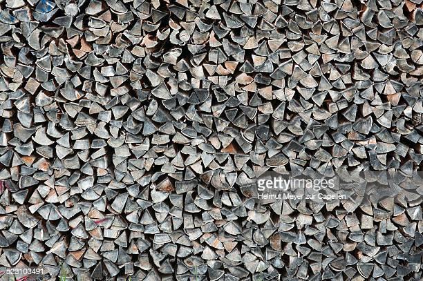 Seasoned, stacked firewood, Bavaria, Germany