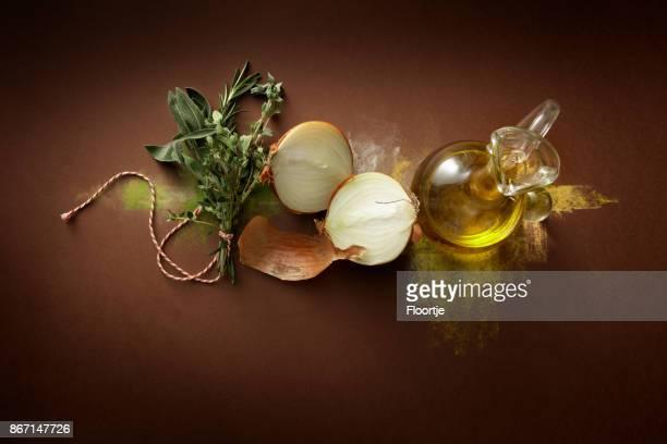 Assaisonnement: Bouquet Garni, l'oignon et l'huile d'Olive nature morte
