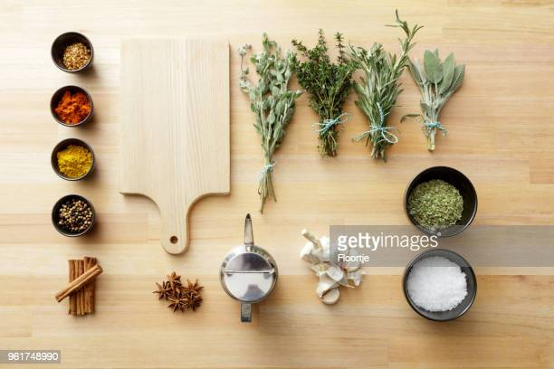 seasoning: herbs and spices still life - food dressing stock pictures, royalty-free photos & images