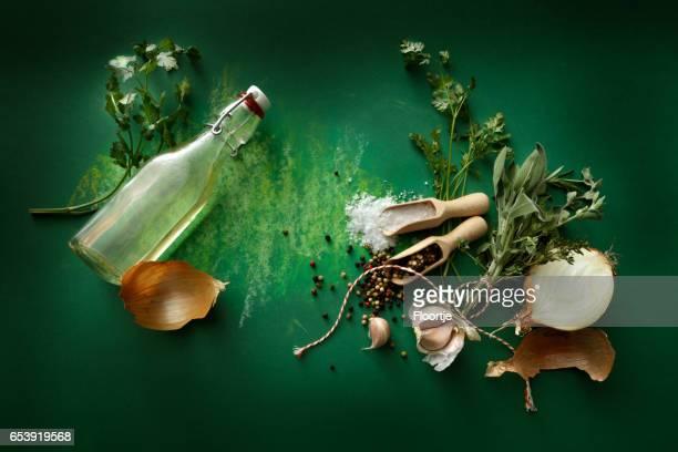 Seasoning: Herbs, Olive Oil, Garlic, Onion, Salt and Pepper Still Life
