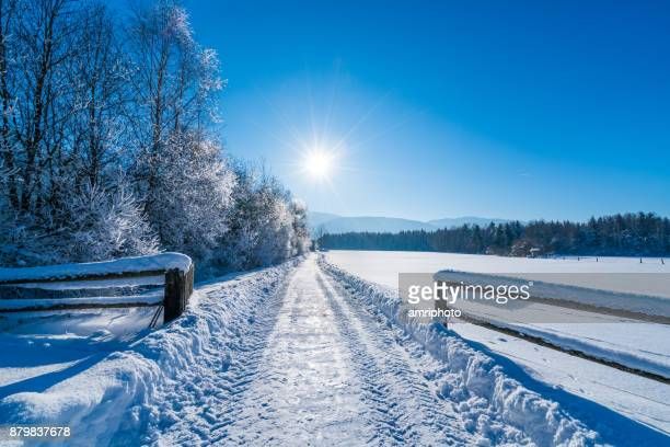 4 seasons - sunny winter day outdoors in rural landscape - january stock pictures, royalty-free photos & images