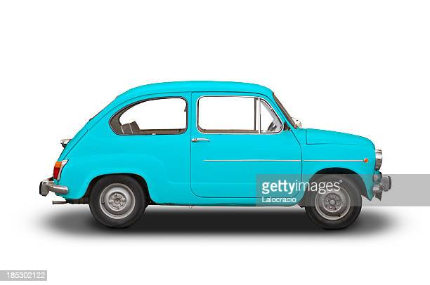 seat 600 blue - compact car stock photos and pictures