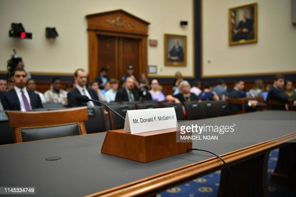 Seat and name card are set for former White House lawyer Don McGhan who is expected to testify at a House Judiciary Committee hearing on the Mueller...