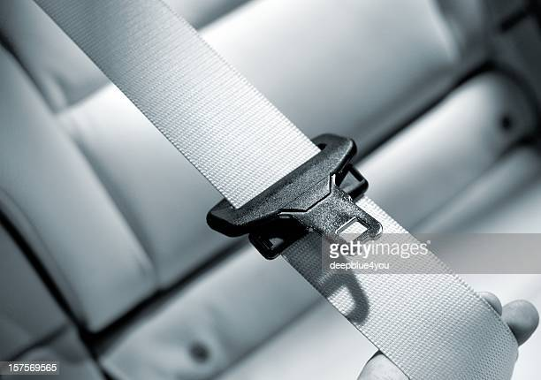 Seat belt Interior of modern car close up