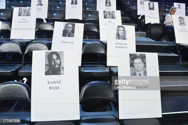 Seat cards on display during the press conference for the 2013 MTV Video Music Awards at the Barclays Center on August 22 2013 in the Brooklyn...