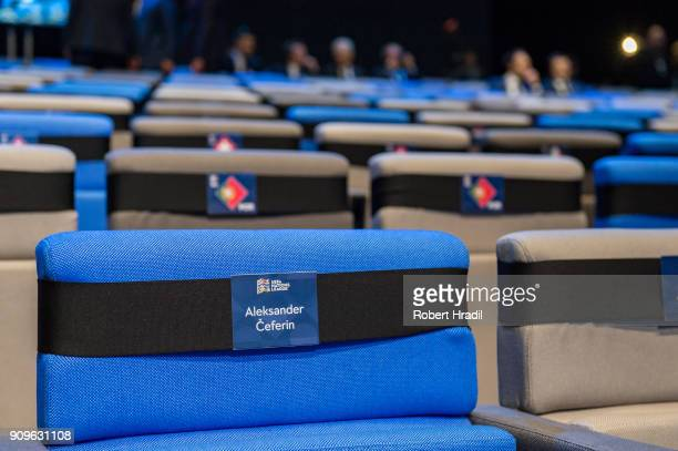 Seat for Aleksander Ceferin UEFA President during the UEFA Nations League Draw 2018 at Swiss Tech Convention Center on January 24 2018 in Lausanne...