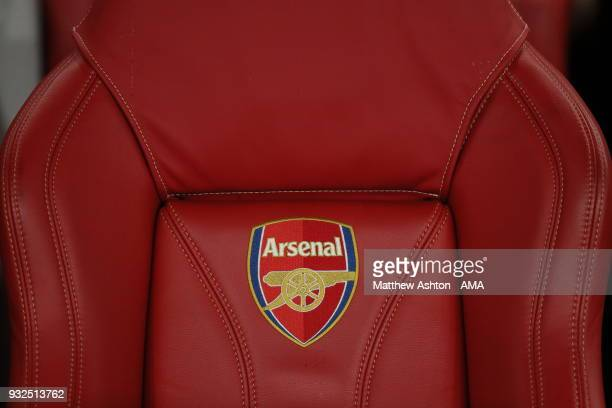 Seat in the Dugout at the Emirates stadium home of Arsenal with the clubs logo on during the UEFA Europa League Round of 16 Second Leg match between...