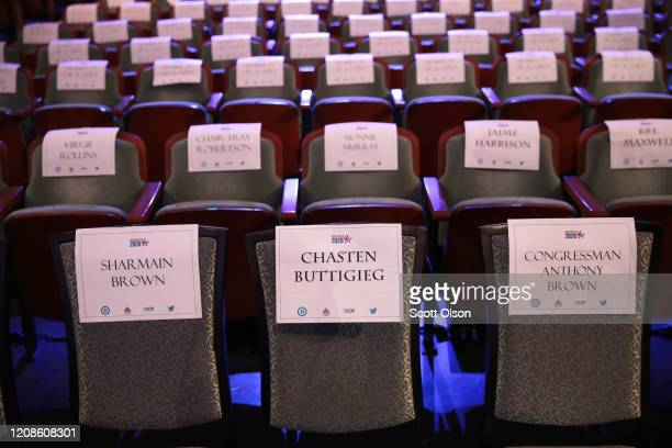 A seat is reserved in the front row for Chasten Buttigieg the husband of Democratic presidential candidate former South Bend Indiana Mayor Pete...