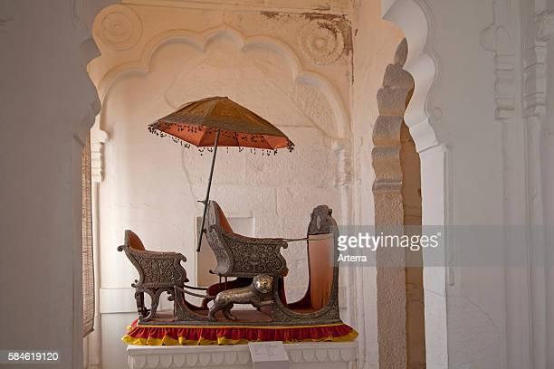 Seat of the Maharaja inside the Mehrangarh Fort in Jodhpur Rajasthan India