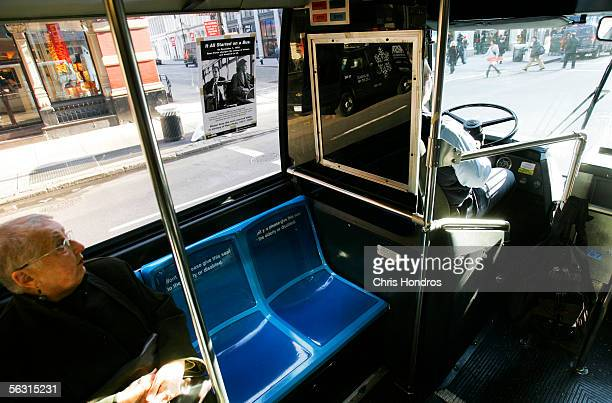 A seat sits vacant behind the bus driver on a New York City public bus in honor of civil rights trailblazer Rosa Parks December 1 2005 in New York...