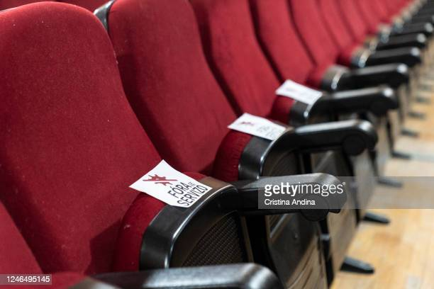 A seat with a sign that says Out of service to ensure social distancing at the Carabela show in the Casa de la Cultura de Muros on June 5 2020 in...