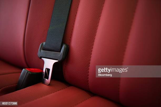A seatbelt is seen inside a Mitsuoka Motors Co Viewt automobile at the company's factory in Toyama Japan on Wednesday Aug 17 2016 Mitsuoka Motor cars...