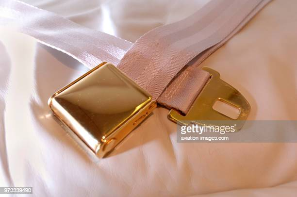 seatbelt on a leather seat in the passenger cabin of a London Executive Aviation LEA Bombardier Challenger 604