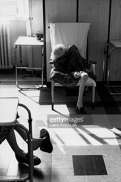 Seated elderly women in Ivry Sur Seine France in 1986 Elderly women at the Charles Foix hospital in IvrysurSeine