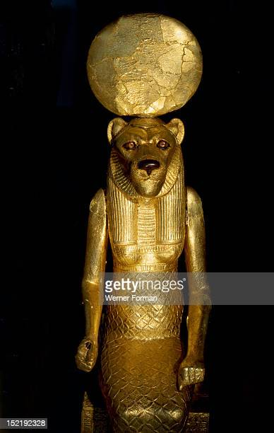 Seated figure of the goddess Sekhmet from the tomb of Tutankhamun Depicted as a woman with the head of a lioness the goddess was daughter to Ra wife...