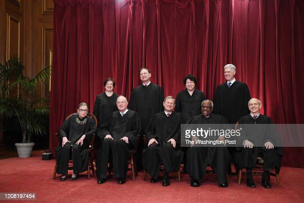 Seated from left, Associate Justice Ruth Bader Ginsburg, Associate Justice Anthony M. Kennedy, Chief Justice of the United States John G. Roberts,...