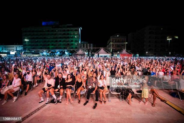Seated in the audience Vincenzo Zurzolo one of the protagonists of the Netflix film Sotto il sole di Riccione surprise guests on the stage of Deejay...