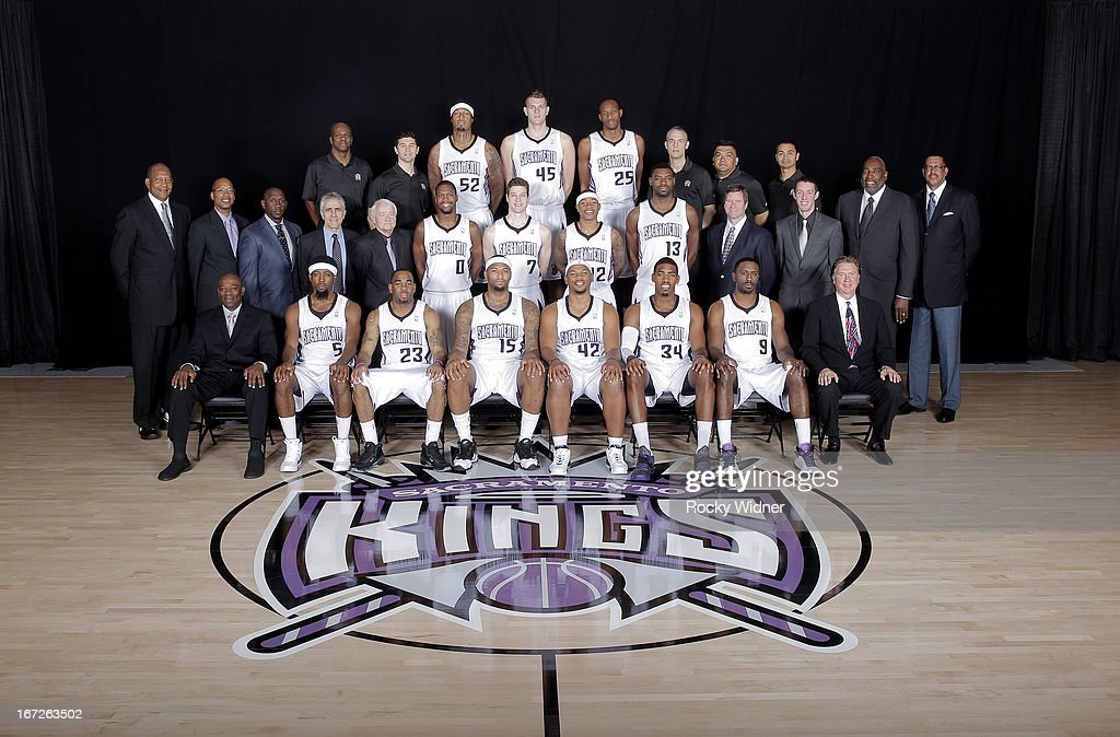 Kings Head Coach Keith Smart, John Salmons, Marcus Thornton, DeMarcus Cousins, Chuck Hayes, Jason Thompson, Patrick Patterson, Kings President of Basketball Operations Geoff Petrie. Second row (L to R) Assistant Coach Alex English, Director of Player Development Fat Lever, Assistant Coach Bobby Jackson, Assistant Coach Jim Eyen, Director of Player Personnel Jerry Reynolds, Toney Douglas, Jimmer Fredette, Isaiah Thomas, Tyreke Evans, Advance Scout Scott Wissel, Special Assistant Ross McMains, Assistant Coach Clifford Ray, Vice President and General Manager of Basketball Operations Wayne Cooper. Last row (L to R): Equipment Manager Dwayne Wilson, Strength and Conditioning Coach Daniel Shapiro, James Johnson, Cole Aldrich, Travis Outlaw, Director of Sports Medicine Pete Youngman, Assistant Equipment Manager Miguel Lopez, Head Athletic Trainer Manny Romero on April 16, 2013 at Sleep Train Arena in Sacramento, California.