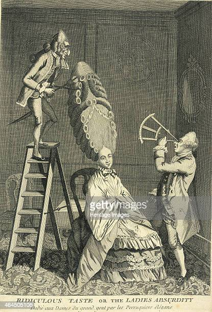 A seated lady has her hair curled and dressed to a towering height c1770 The man of the left has had to climb a ladder in order to dress the lady's...