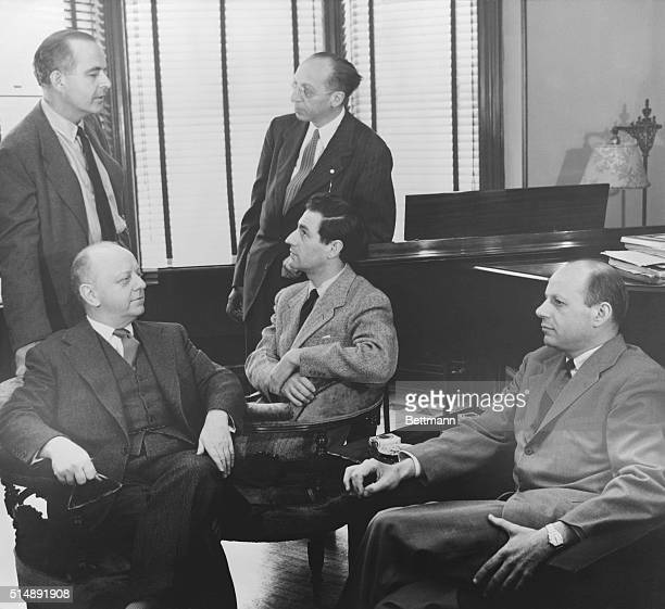 Seated left to right are Virgil Thompson Gian Carlo Menotti and William Schulman Standing left to right are Samuel Barber and Aaron Copland