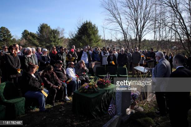 Seated left to right siblings Paula Hodges Roxanne Barrows David Salamon and Michelle Chagaris attend a funeral service for their sister Marlyse...