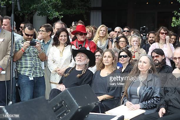 Seated musician Willie Nelson his wife Annie Nelson and sister Bobbie Nelson before the unveiling of Willie's statue at ACL Live on April 20 2012 in...