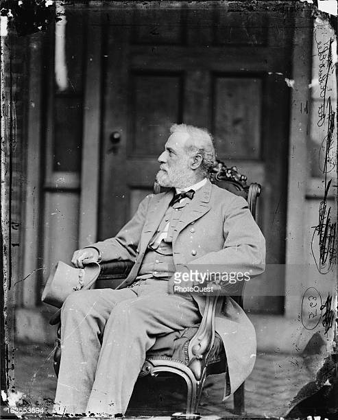 Seated portrait of General Robert E Lee commander of the Confederate Army of Northern Virginia during the American Civil War 1865