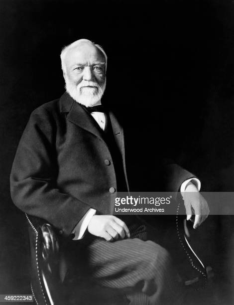 A seated portrait of industrialist Andrew Carnegie New York New York circa 1913