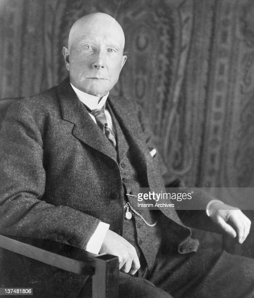 Seated portrait of John Davison Rockefeller American oil magnate early twentieth century
