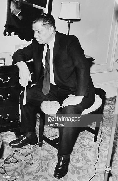 Seated portrait of labor leader Jimmy Hoffa in a Philadelphia hotel, 1975.