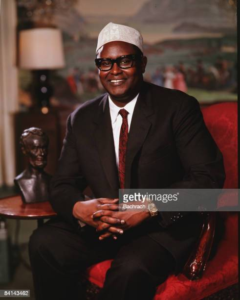 Seated portrait shows a smiling Muhammad Haji Ibrahim Egal the prime minister of Somalia 1968 New York He later served as president of the...