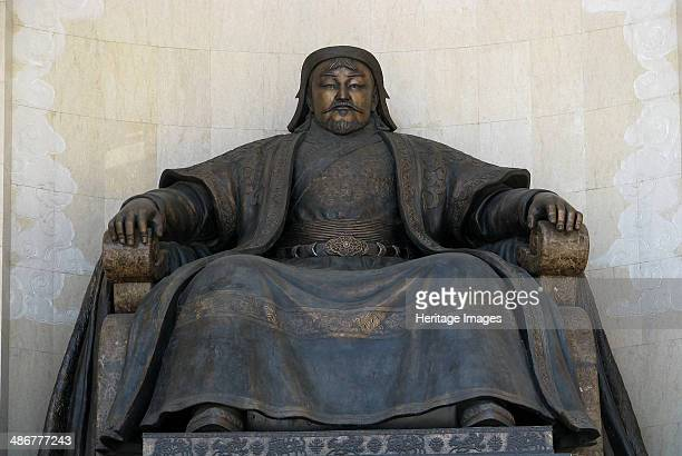 Seated statue of Chingis Khan at the Parliament Building in Ulan Bator 2005 Artist Anonymous