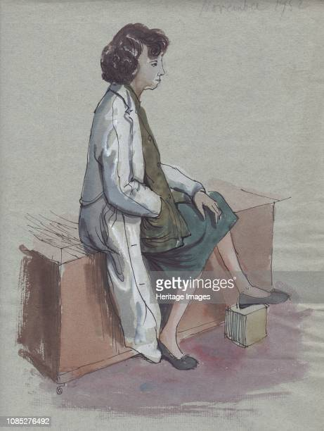 Seated woman in white coat 1952 Model in a drawing class Artist Shirley Markham