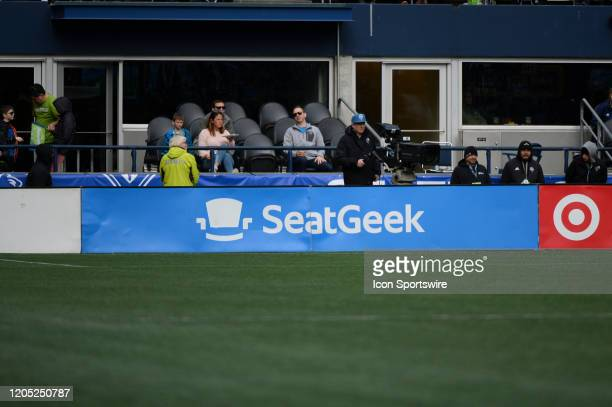 SeatGeek ad board seen during a MLS match between the Chicago Fire and the Seattle Sounders at Century Link Field in Seattle WA
