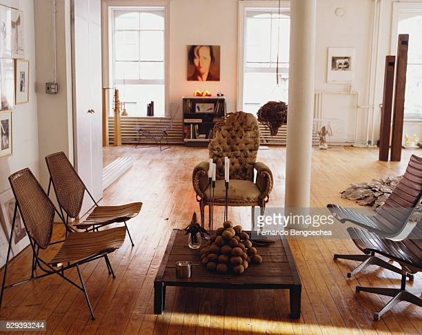 seating area in loft - fernando bengoechea stock pictures, royalty-free photos & images