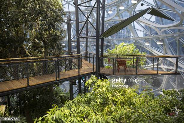 A seating area is seen on a suspension bridge inside the Amazoncom Inc Spheres in Seattle Washington US on Tuesday Jan 23 2018 The online retailer is...