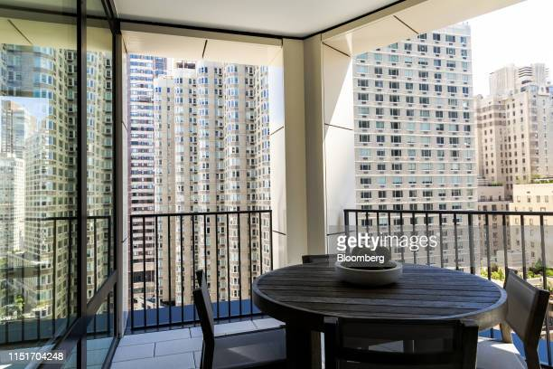A seating area is seen on the balcony of an apartment unit in the AvalonBay Communities Inc Park Loggia condominium at 15 West 61 Street in New York...