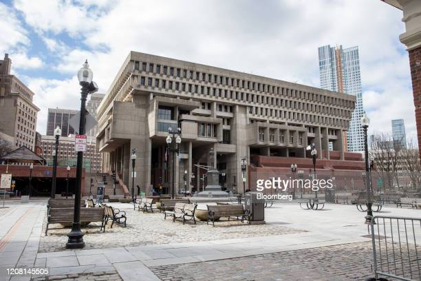 Seating area sits empty near Boston City Hall in Boston, Massachusetts, U.S., on Tuesday, March 24, 2020. Massachusetts GovernorCharlie Bakerhas...