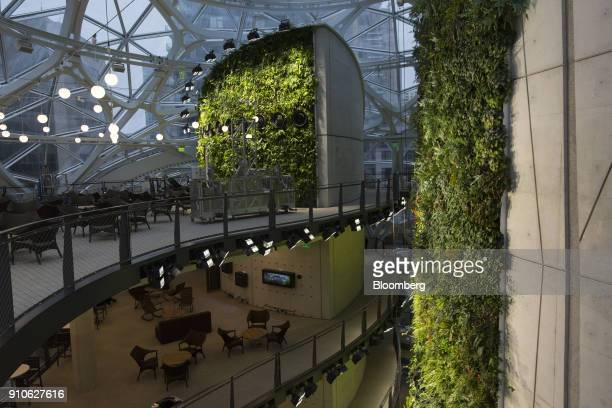 Seating areas are seen inside the Amazoncom Inc Spheres in Seattle Washington US on Tuesday Jan 23 2018 The online retailer is scheduled to unveil...