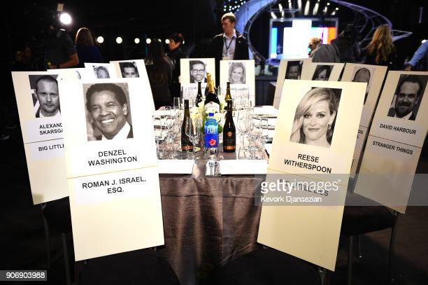 Seating cards of celebrities are placed around a table during a media preview in preparations for 24th Annual Screen Actors Guild Awards at The...