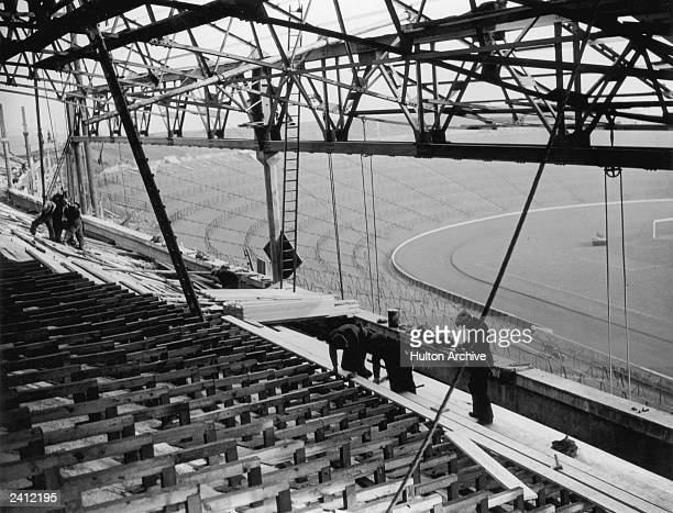 Seating in the new stand under construction at Hampden Park football stadium, Glasgow, Scotland, 8th March 1937.