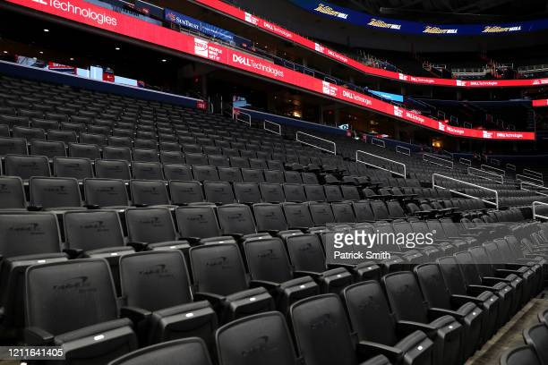 Seats are empty prior to the New York Knicks playing the Washington Wizards at Capital One Arena on March 10 2020 in Washington DC NOTE TO USER User...
