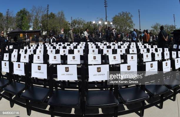Seats are reservd for owners of the Los Angeles FC for the ribbon cutting ceremony for the new Banc of California Stadium on April 18 2018 in Los...
