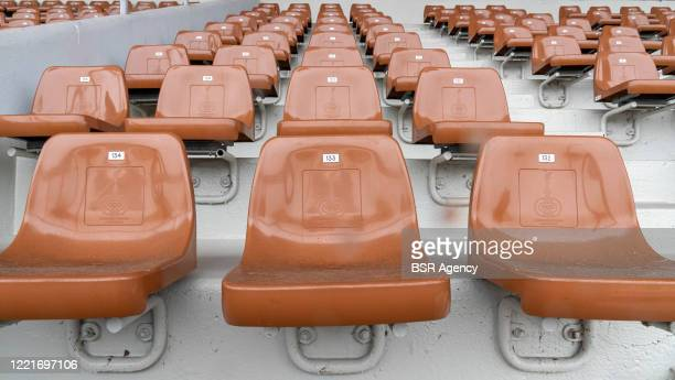 Seats are seen at the Olympic Stadium on April 28, 2020 in Amsterdam, Netherlands. The iconic Olympic Stadium is ready to re-open its gates on April...