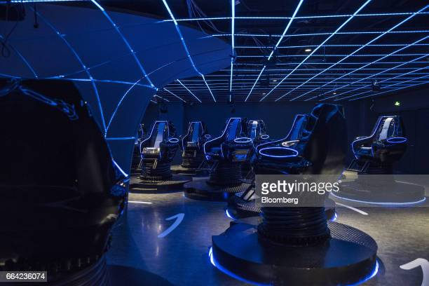 Seats are seen in a 4D cinema that can accommodate 23 people at the SoReal virtual reality park in Beijing China on Friday March 3 2017 Sky Limit...