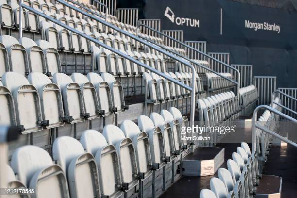 Seats are seen vacant in a grandstand after the cancellation of the The PLAYERS Championship and consecutive PGA Tour events through April 5th,2020...