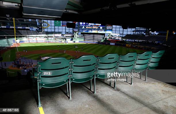 Seats are shown during batting practice before the Atlanta Braves and Milwaukee Brewers baseball game at Miller Park on April 1 2014 in Milwaukee...