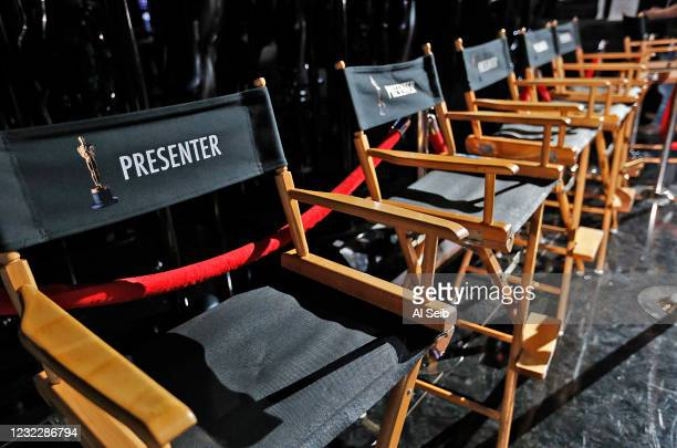 Seats for the six Team Oscar winners who will deliver Oscar statuettes to celebrity presenters during rehearsals in the Dolby Theatre February 18,...