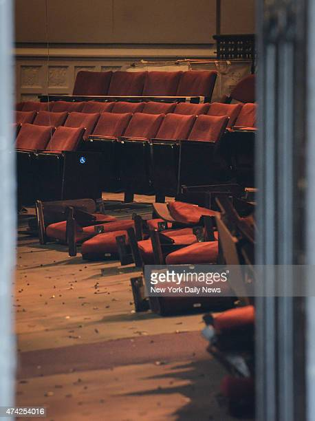 """Seats from """"Late Show with David Letterman"""" being taken apart at the Ed Sullivan Theater."""